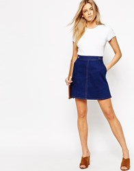 Oasis Denim A Line Mini Skirt 70'S Blue