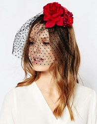 Orelia Flower Veil Headband Fascinator Red