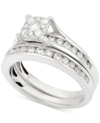 Macy's Diamond Channel Set Bridal Set 1 Ct. T.W. In 14K White Gold