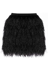 Raoul Lila Crepe And Feather Mini Skirt