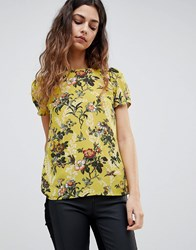 Oasis Floral Top Yellow Floral Multi