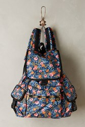 Anthropologie Rifle Paper Co. X Lesportsac Voyager Backpack Blue