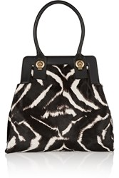 Valentino Zebra Print Calf Hair Tote Animal Print