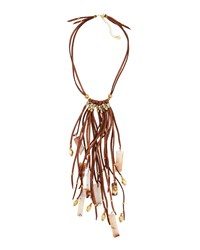 Nakamol Leather And Agate Tassel Necklace Brown