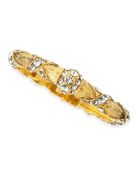 Jose And Maria Barrera Gold Plated Crystal Ribbon Bracelet
