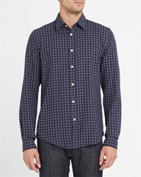 Hartford Navy Checked Flannel Shirt Blue