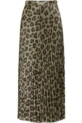 Haider Ackermann Pleated Printed Silk Blend Lame Maxi Skirt Leopard Print