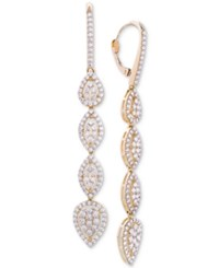 Wrapped In Love Diamond Teardrop Cluster Drop Earrings 2 Ct. T.W. 14K Gold Created For Macy's Yellow Gold
