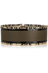 Balmain Embellished Leather Waist Belt Army Green