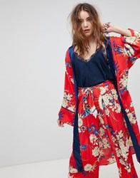 Kiss The Sky Floral Kimono Co Ord Red