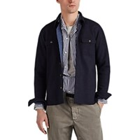 Barneys New York Double Faced Wool Blend Felt Shirt Jacket Navy