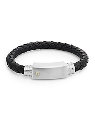 Saks Fifth Avenue 0.01 Tcw Diamond Stainless Steel And Leather Cord Bracelet