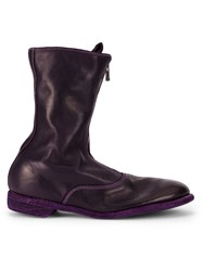 Guidi Front Zipped Boots Pink And Purple