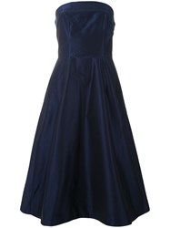 Aspesi Strapless Flared Gown Women Silk Cotton Viscose 42 Blue