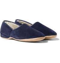Derek Rose Crawford Shearling Lined Suede Slippers Navy