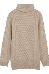 Chinti And Parker Aran Cable Knit Merino Wool Turtleneck Sweater Mushroom