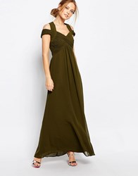 Little Mistress Crossover Empire Maxi Dress Olive Green