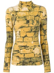 Jean Paul Gaultier Vintage Bricks Print Top Yellow And Orange