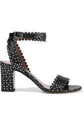 Tabitha Simmons Leticia Studded Perforated Leather Sandals Black