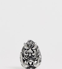 Reclaimed Vintage Inspired Stainless Steel Ring With Oversized Dragon Detail Exclusive To Asos Silver