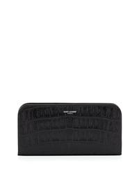 Crocodile Embossed Zip Wallet Black Saint Laurent
