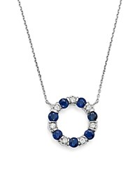 Bloomingdale's Sapphire And Diamond Pendant Necklace In 14K White Gold 16