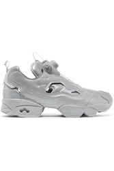 Vetements Reebok Instapump Fury Reflective Leather Sneakers Gray