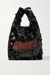 Anya Hindmarch Embellished Satin Tote Black