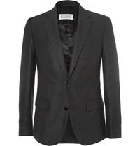 Maison Martin Margiela Black Slim Fit Herringbone Wool And Linen Blend Blazer