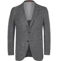 Isaia Grey Wool Silk Linen And Cashmere Blend Blazer Gray