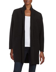 Lord And Taylor Merino Wool Open Front Cardigan Black