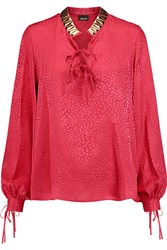 Just Cavalli Leopard Jacquard Silk Blouse Red