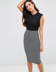 Club L 2 In 1 Midi Dress With Chevron Skirt Black White Multi