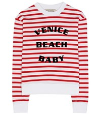 Etre Cecile Striped Printed Cotton Sweatshirt Red