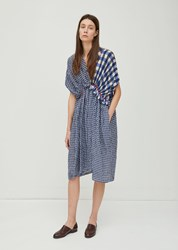 Zucca Cupro Gingham Check Dress Blue