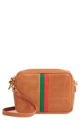 Clare V. Midi Sac Perforated Leather Crossbody Bag Brown Cuoio