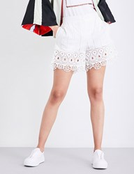 Opening Ceremony Broderie Anglaise Mid Rise Cotton Shorts White