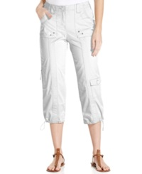 Style And Co. Petite Cargo Capri Pants Bright White