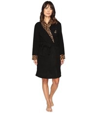 Lauren Ralph Lauren Folded Fleece Short Robe Black Women's Robe