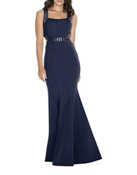 Decode 1.8 Embellished Fit And Flare Gown Navy