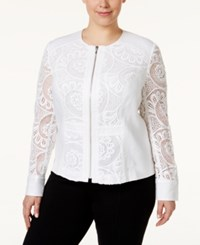 Inc International Concepts Plus Size Linen Lace Jacket Only At Macy's White
