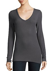 Bcbgmaxazria Enid Long Sleeve V Neck Top Black