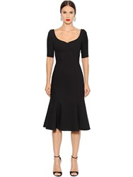 Dolce And Gabbana Double Wool Crepe Stretch Flared Dress