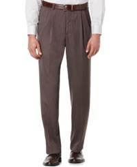 Perry Ellis Portfolio Classic Fit Double Pleat No Iron Melange Microfiber Dress Pants Maple Brown