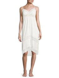 In Bloom Lace Inset Jersey Nightgown White