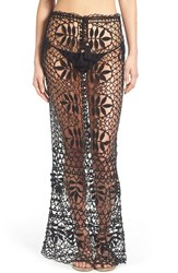Women's For Love And Lemons 'St. Tropez' Crochet Cover Up Skirt Black