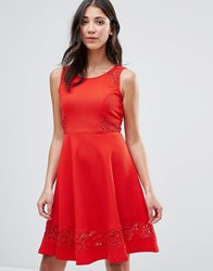 Traffic People Skater Dress With Lace Insert Red