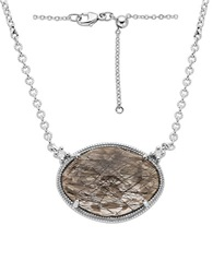 Lord And Taylor Sterling Silver Rutilated Quartz And Diamond Necklace Multi