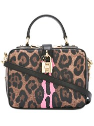 Dolce And Gabbana Leopard Padlock Shoulder Bag Black