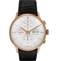 Junghans Meister Chronoscope Gold Tone And Alligator Watch White